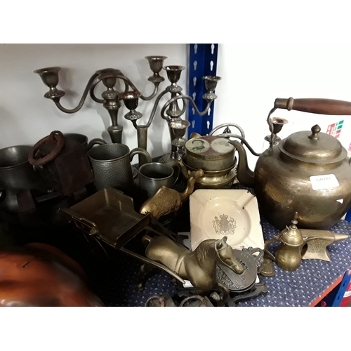 1043 - Various items to include brass items, tankards and silver plate candlesticks....
