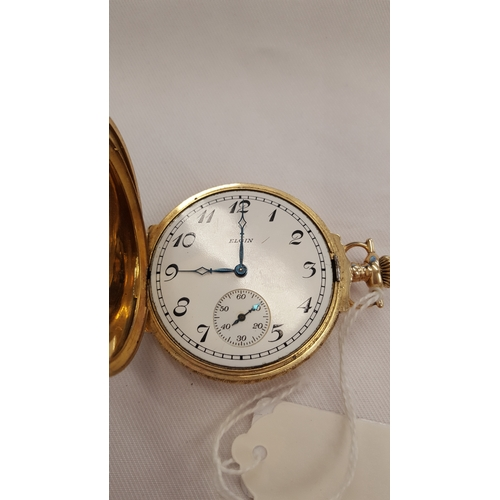 404 - A 14 carat gold Elgin full Hunter with box hinges (working order)....