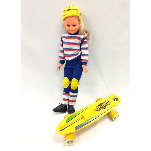 282 - A 1970's/80's Jenny doll with skateboard by B.B. Brintoi. Made in Spain. VG condition....
