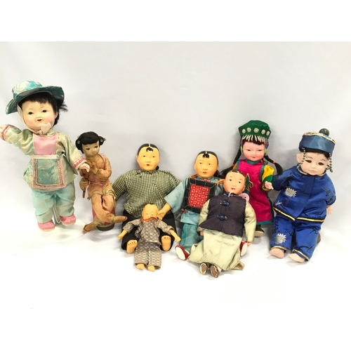284 - A quantity of Chinese and Japanese composition dolls in various conditions....