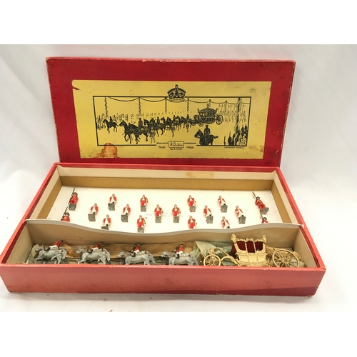 331 - Britains Set 1476 - Coronation Display Set - (1937 - 1941 - George VI issue) comprising: Gilt State ...