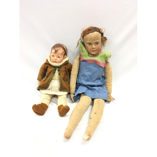 283 - Kathe Kruse Doll (wear to hair) together with a paper mache doll....