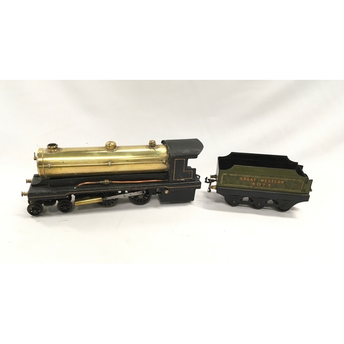133 - BOWMAN O Gauge live steam 4-4-0 and 3 axle GWR Green Tender #4073 - the Locomotive has an unpainted ...