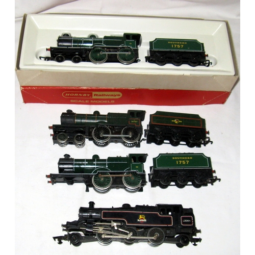 52 - HORNBY TRIANG 4 x Locomotives - 3 x Class L1 4-4-0 - R350 SR Green L! 4-4-0 Fair Plus Boxed, another...