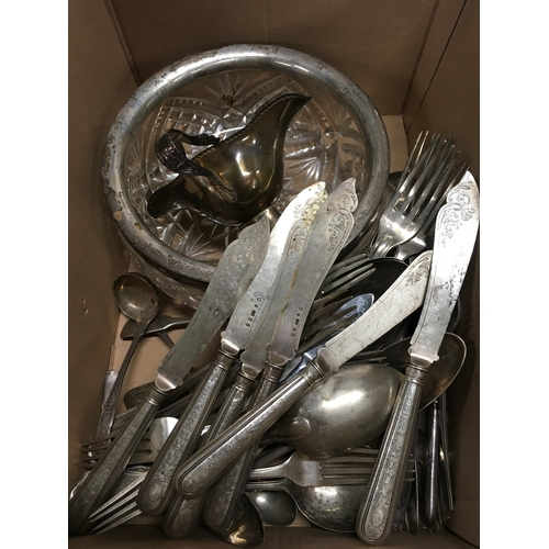 141 - A box containing various silver and silver plate....