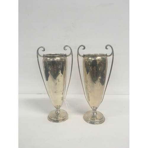 """140 - A pair of antique silver hallmarked vases (7"""") - 377g..."""