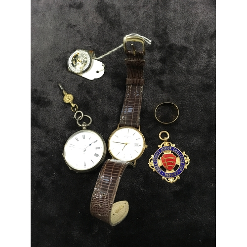 230 - A 9ct gold medal together with a gents gold rotary Quartz watch, silver pocket watch and a gold ring...