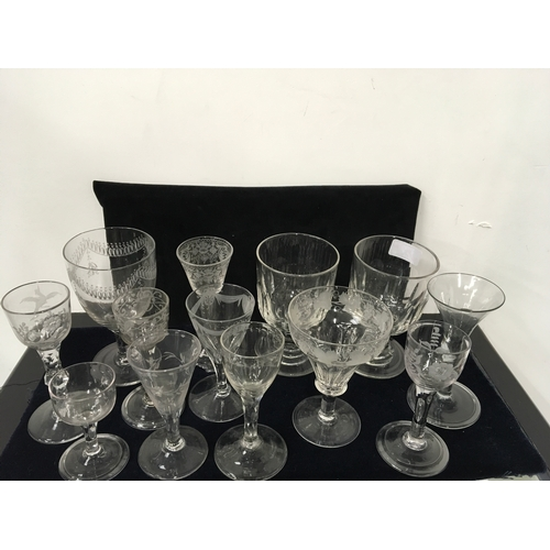 143A - Thirteen 19th century glasses including rummers, cordial and wines....