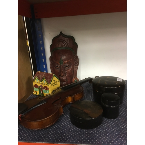 1006 - A violin together with boxes, mask and a Dr Barnardo's Homes money box....