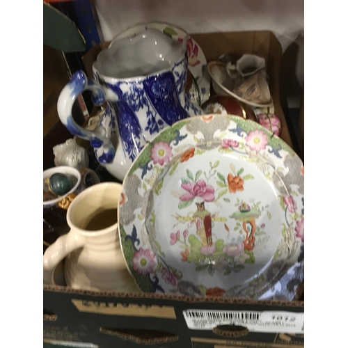 1012 - A box full of mixed china including a large blue and white toilet jug....