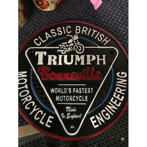 1046 - A large Triumph Bonneville sign. (171)....