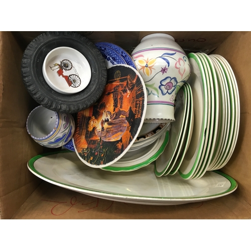 1010 - A box of china plates and vases, including some Poole Pottery....
