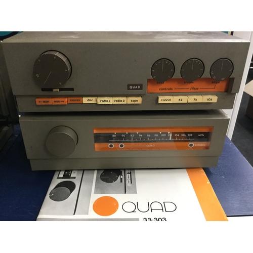 284 - Quad HiFi System And Two Leak speakers. Fantastic vintage Leak 2060 speakers with legendary aluminiu...