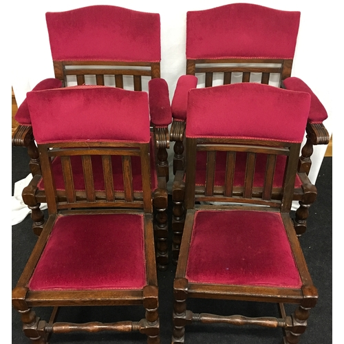 1520 - Four chairs with pink upholstered fabric to include two carvers....