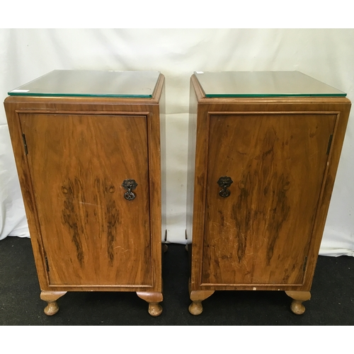 1532 - A pair of light oak/walnut bedside units....