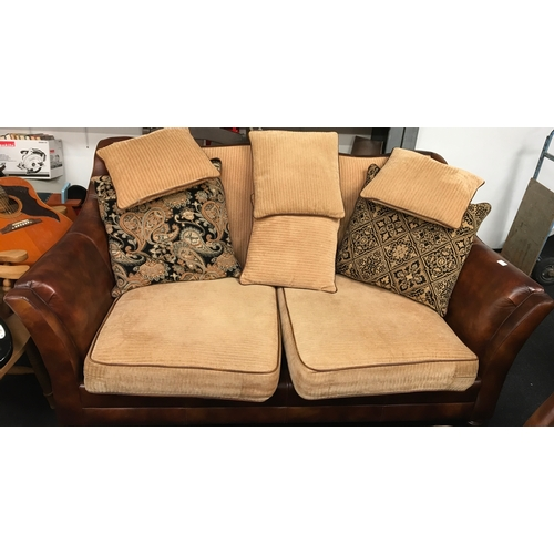 1455 - Two modern three seater Leather and corduroy setee's. 185cm wide x 97cm high x 100cm deep....