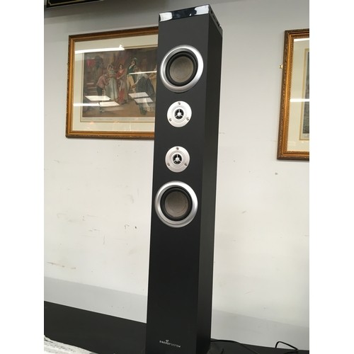 1446 - A wired bar unit. Connected for lights and sound, includes a speaker tower with an assortment of rep...
