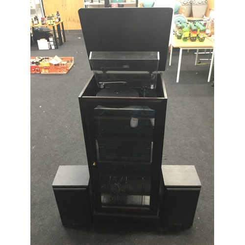 285 - Hifi System In Tall Rack Unit. Comprising of a Project Debut 2 turntable - and incorporating a Techn...