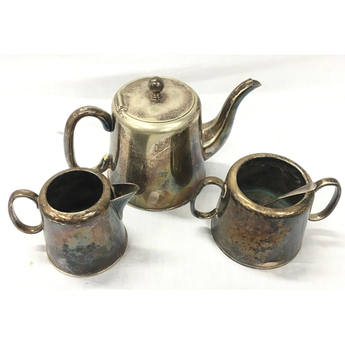 7 - A silver plated teapot, jug and sugar pot on tray. Marked to base E.P.N.S Sheffield....