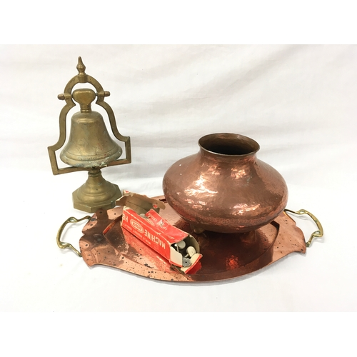 9 - A copper tray and pot, plus brass bell on stand and box of machine heads....