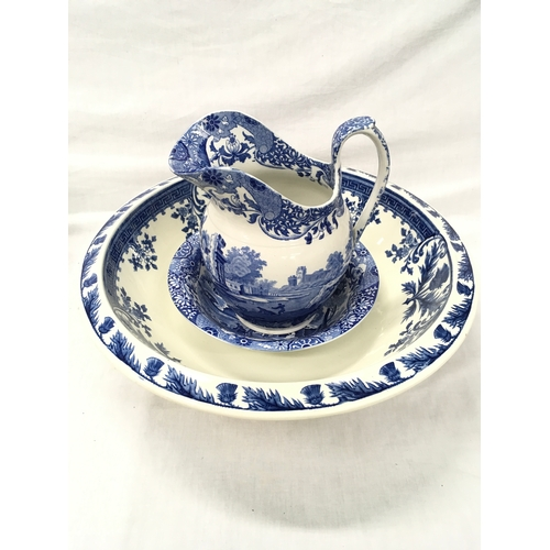 14 - A Copeland Spode Italian water jug and bowl, together with a large Wedgwood Thistle blue and white b...