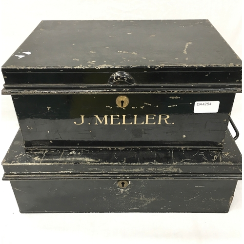 16 - Two large metal cash boxes with keys inside box....