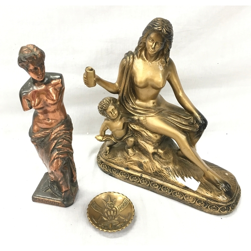 17 - Two metal female semi-nude statues together with small