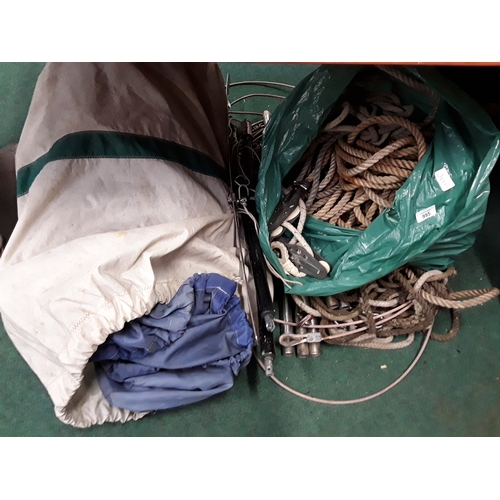 995 - A quantity of sailing ropes, stanchions and sails....