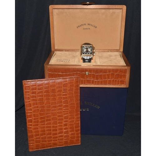 118 - A Frank Muller Master of Complications Conquistador Cortez, No 551, 18ct gold on original leather st...