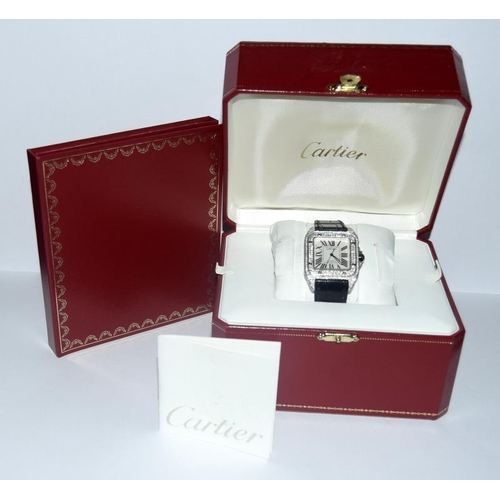 72 - A gents Cartier Santos automatic wristwatch approx. 36x44mm including lugs, encrusted diamonds leath...