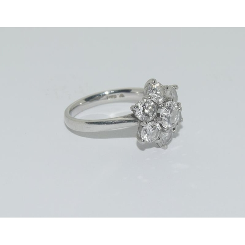 70 - A ladies Platinum and Diamond 7 stone cluster ring approx 2.5ct  size I....