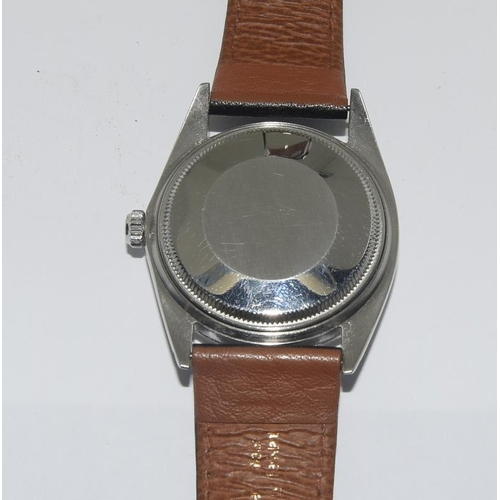 157 - A gents Rolex watch fitted with a Rolex explorer dial with original winder on a replacement leather ...