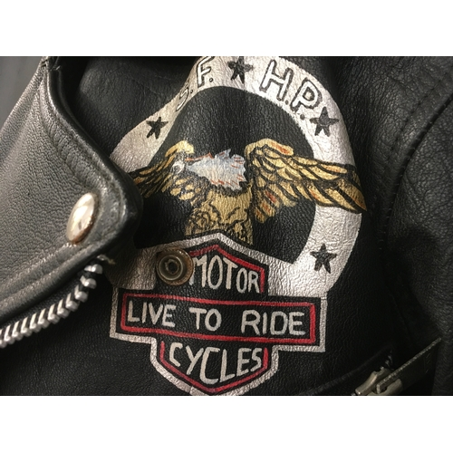 16M - Live to ride leather motorcycle jacket, size L....