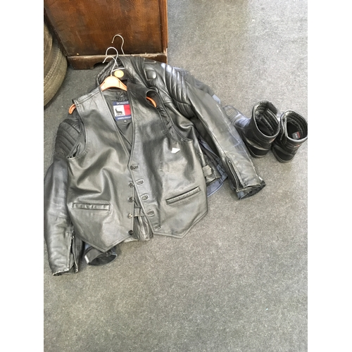 20M - A collection of motorcycle leather jackets and a pair of leather boots....