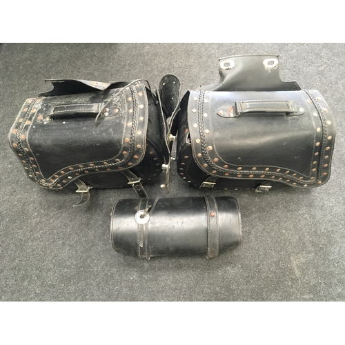 22M - Three leather motorcycle paneers....