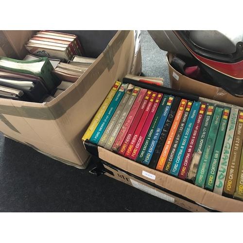 77M - A box of vintage Haynes manuals together with another box of vintage car manuals....