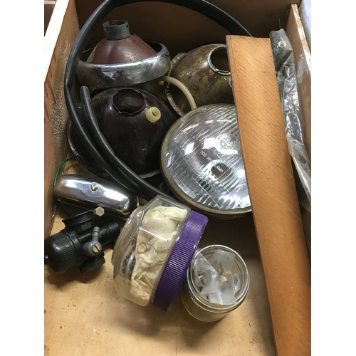 80M - A miscellaneous box of motorbike headlamps etc....