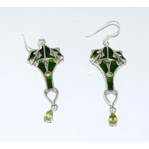 514 - A pair of silver Art Nouveau style Plique A Jour earrings....