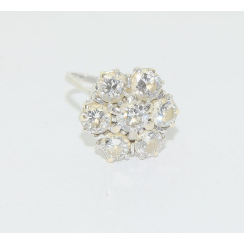 520 - 18ct white gold 7 stone diamond cluster ring of  approx 1.8ct size N...