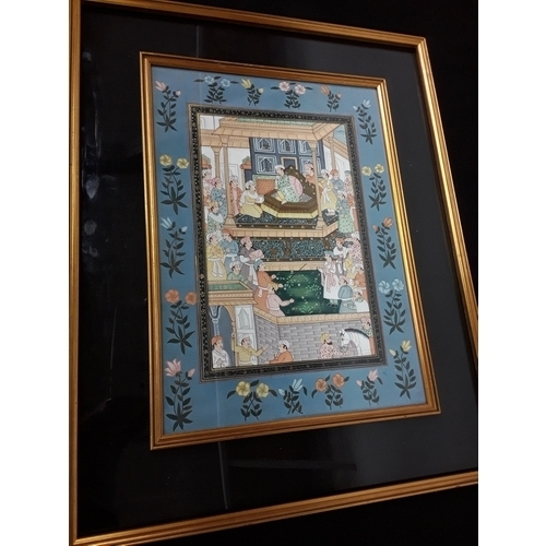 521 - A gilt double-framed and glazed Rajistani watercolour, Mogul Court - overall size 78x62cm - outer fr...