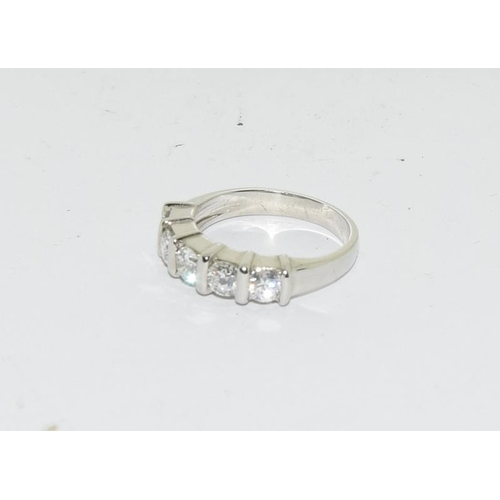 367 - A platinum set five stone diamond ring of 1.3 carats approx....