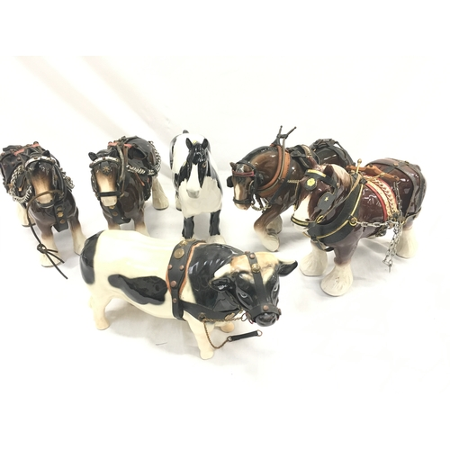 376 - Two boxes with horses and carts etc, incl Beswick....