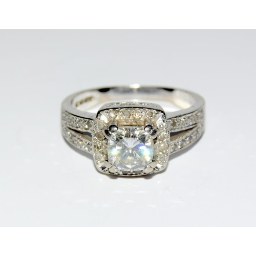 375 - A Diamond Solitaire surrounded by side diamonds approx 1.00ct, Cartier style 18ct white gold ring - ...