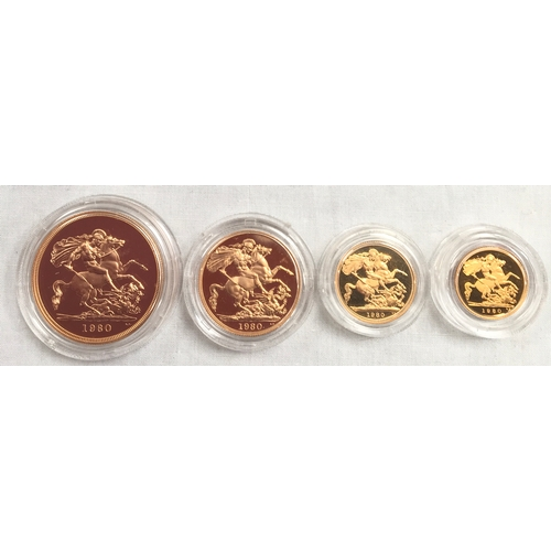 230B - 1980 Proof 22ct Gold coin set of four coins....
