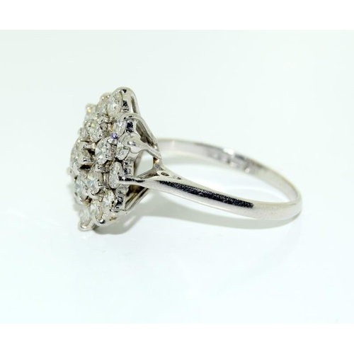 377 - 18ct gold ladies diamond cluster ring - approx 1.75ct. Size M....
