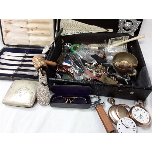 379 - Collection of mixed curios, pocket and other watches, butter knives, silver, coins etc....