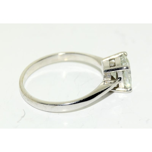 378 - A Diamond square cut solitaire ring, approx 1ct. set in 18ct white gold. Size K....