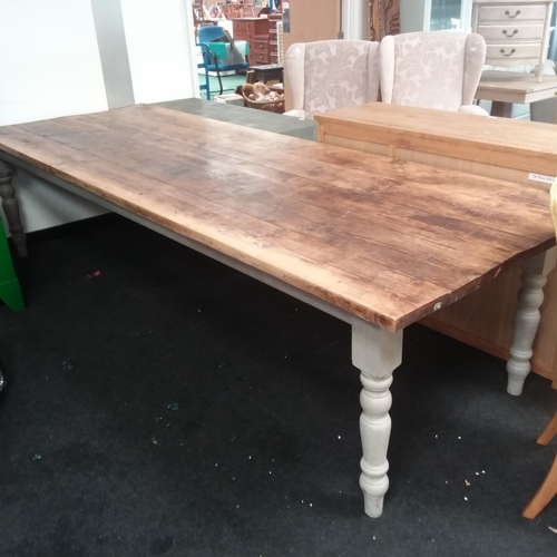 1597 - A large plank topped farmhouse kitchen table....