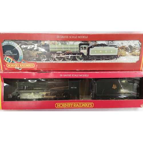"""1 - Two Hornby OO gauge steam locomotives- R322 BR 2-8-0 Class 8F #48758 and R053 LNER Class B17 """"Manche..."""