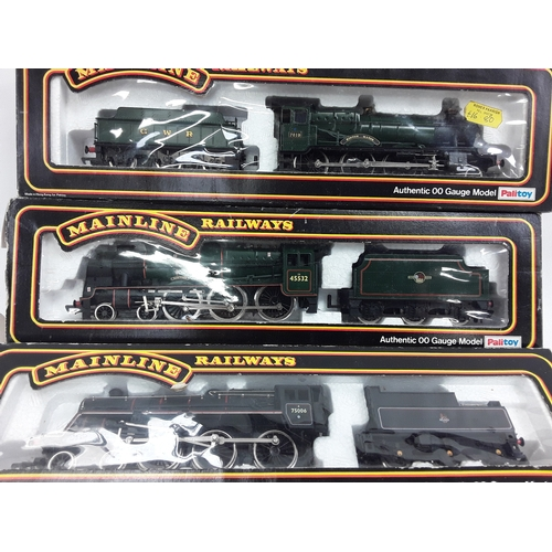 39 - Three Mainline OO gauge 4-6-0/locomotives- 37-052 Standard Class 4MT #75006, 37-066 BR Patriot Class...